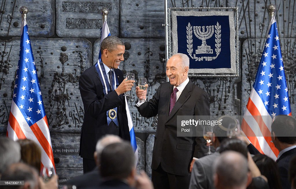 U.S. President Barack Obama (L) and Israeli Preisident Shimon Peres stand together during a state dinnner at Peres' official residence March 21, 2013 in Jerusalem, Israel. This is Obama's first visit as president to the region and his itinerary includes meetings with the Palestinian and Israeli leaders as well as a visit to the Church of the Nativity in Bethlehem.