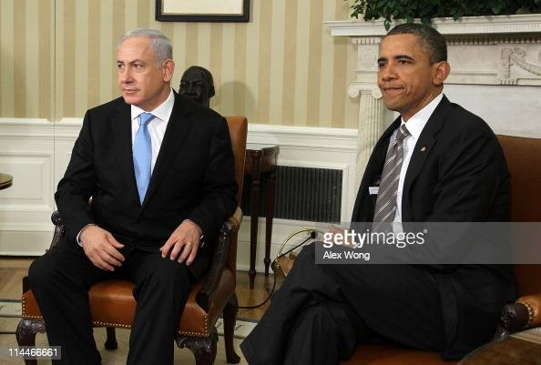 S President Barack Obama and Israeli Prime Minister Benjamin Netanyahu prepare to make statements after their meeting May 20 2011 in the Oval Office...