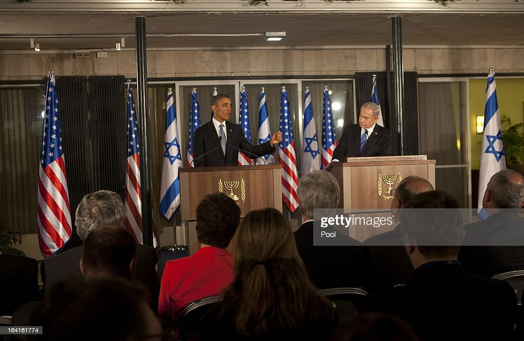 U.S. President Barack Obama (L) and Israeli Prime Minister Benjamin Netanyahu hold a joint news conference on March 20, 2013 in Jerusalem, Israel. Obama is making his first visit to the region as president, with his itinerary including meetings with Palestinian and Israeli leaders as well as a visit to the Church of the Nativity in Bethlehem.
