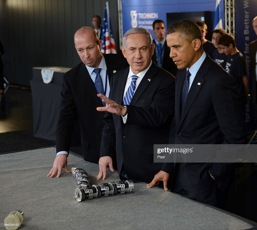 U.S. President Barack Obama and Israeli Prime Minister Benjamin Netanyahu view a robotic snake used in search and rescue at an Israeli technology exhibition in the Israel Museum on March 21, 2013 in Jerusalem, Israel. This is President Obama's first visit as president to the region, and his itinerary includes meetings with the Palestinian and Israeli leaders as well as a visit to the Church of the Nativity in Bethlehem.