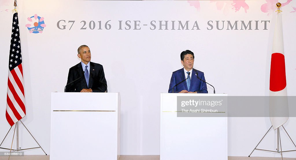 U.S. President <a gi-track='captionPersonalityLinkClicked' href=/galleries/search?phrase=Barack+Obama&family=editorial&specificpeople=203260 ng-click='$event.stopPropagation()'>Barack Obama</a> (L) and Japanese Prime Minister <a gi-track='captionPersonalityLinkClicked' href=/galleries/search?phrase=Shinzo+Abe&family=editorial&specificpeople=559017 ng-click='$event.stopPropagation()'>Shinzo Abe</a> (R) attend a joint press conference following their bilateral meeting ahead of the Group of Seven summit on May 25, 2016 in Shima, Mie, Japan. Obama expressed deep remorse for the recent incident in which a U.S. civilian working at a U.S. military base was arrested in connection with the slaying of a young woman in Okinawa. The Group of Seven summit takes place on May 26 and 27 to discuss key global issues such as global economy and anti terrorism measures.