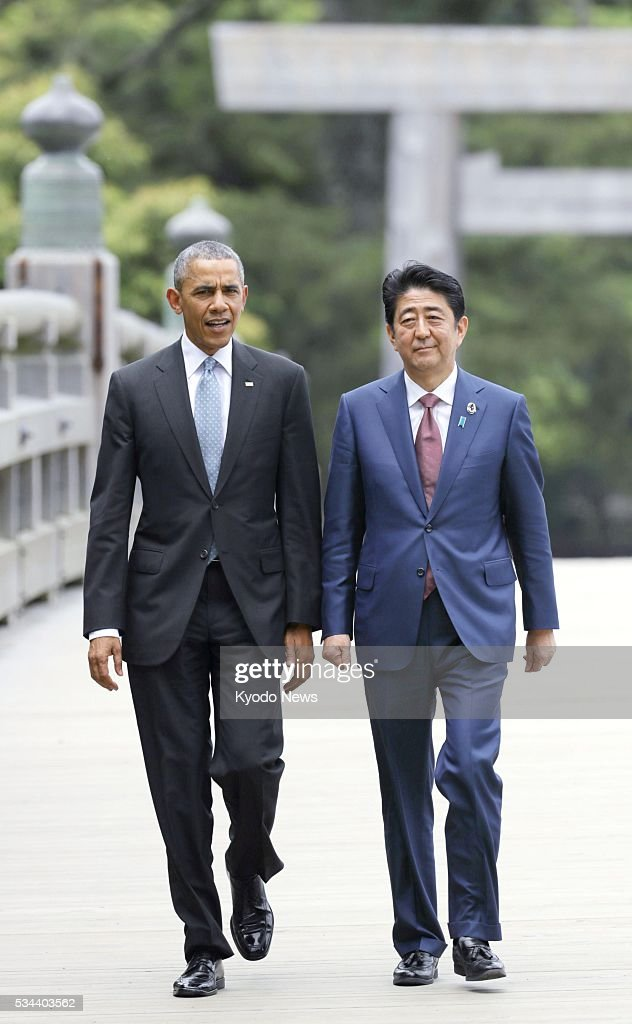 U.S. President <a gi-track='captionPersonalityLinkClicked' href=/galleries/search?phrase=Barack+Obama&family=editorial&specificpeople=203260 ng-click='$event.stopPropagation()'>Barack Obama</a> (L) and Japanese Prime Minister <a gi-track='captionPersonalityLinkClicked' href=/galleries/search?phrase=Shinzo+Abe&family=editorial&specificpeople=559017 ng-click='$event.stopPropagation()'>Shinzo Abe</a>, together with other Group of Seven leaders, visit Ise Jingu shrine on May 26, 2016, the first day of their summit meeting, in the central Japan city of Ise.