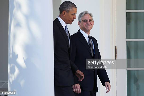 S President Barack Obama and Judge Merrick Garland the president's nominee to replace the late Supreme Court Justice Antonin Scalia walk into the...