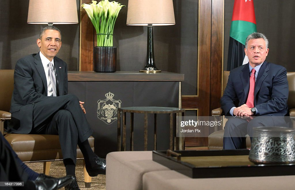 U.S. President Barack Obama (L) and King Abdullah II of Jordan (L) meet at the Al Hummar palace March 22, 2013 in Amman, Jordan. Jordan is the last stop on a four-day Mideast trip that included Israel and the West Bank.