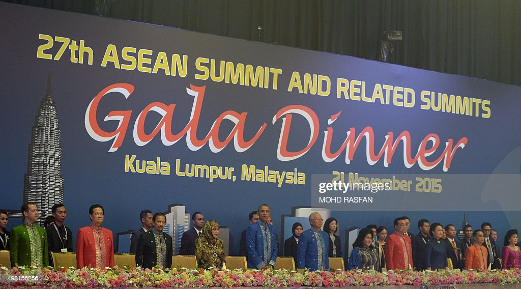 US President Barack Obama and Malaysian Prime Minister Najib Razak and other ASEAN leaders and their wives attend the 27th Association of Southeast...
