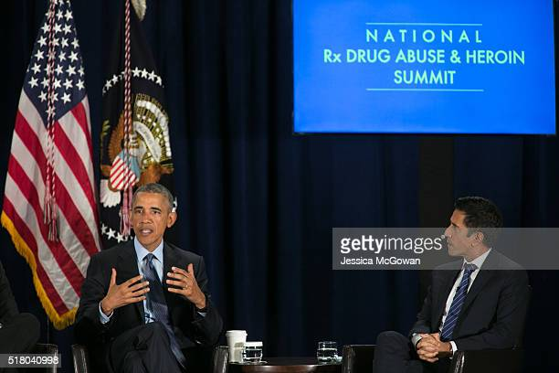 President Barack Obama and mediator Dr Sanjay Gupta participate in the National Rx Drug Abuse and Heroin Summit on March 29 2016 in Atlanta Georgia A...