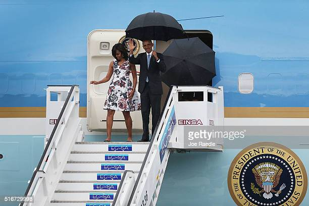 S President Barack Obama and Michelle Obama arrive at Jose Marti International Airport on Airforce One for a 48hour visit on March 20 2016 in Havana...