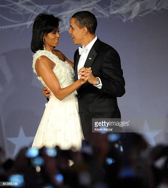 President Barack Obama and Michelle Obama at MTV and ServiceNation's 'Be the Change Live From The Inaugural Ball' at the Washington Hilton on January...