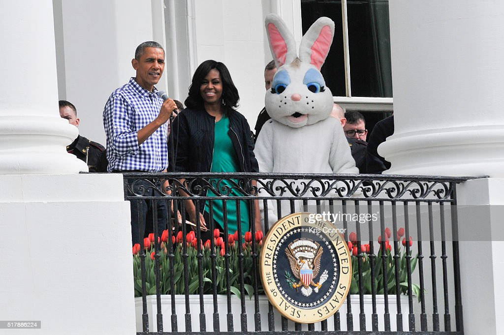 President Barack Obama and Michelle Obama attend the 2016 White House Easter Egg Roll at the White House on March 28 2016 in Washington DC