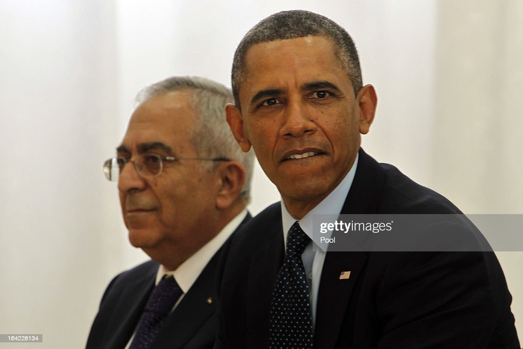 U.S. President <a gi-track='captionPersonalityLinkClicked' href=/galleries/search?phrase=Barack+Obama&family=editorial&specificpeople=203260 ng-click='$event.stopPropagation()'>Barack Obama</a> (R) and Palestinian Prime Minister Salam Fayad visit Al Bera Youth Center March 21, 2013 in Ramallah, the West Bank. This is Obama's first visit as president to the region and his itinerary includes meetings with the Palestinian and Israeli leaders as well as a visit to the Church of the Nativity in Bethlehem.