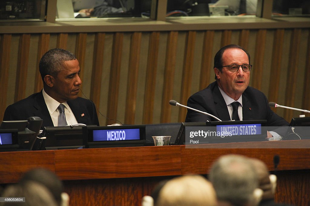 President Barack Obama and President Francois Hollande of France attend an Open Government Partnership meeting during the United Nation's 69th General Assembly. The annual event brings together political leaders from around the globe to report on issues and look for solutions. This year's General Assembly highlighted the problem of global warming and how countries can strive to reduce greenhouse gas emissions.