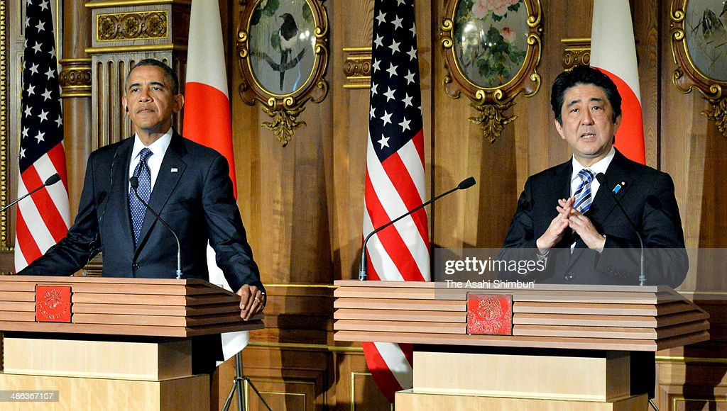 U.S. President <a gi-track='captionPersonalityLinkClicked' href=/galleries/search?phrase=Barack+Obama&family=editorial&specificpeople=203260 ng-click='$event.stopPropagation()'>Barack Obama</a> and Prime Minister of Japan <a gi-track='captionPersonalityLinkClicked' href=/galleries/search?phrase=Shinzo+Abe&family=editorial&specificpeople=559017 ng-click='$event.stopPropagation()'>Shinzo Abe</a> attend a news conference following the top-level meeting at the State Guest House on April 24, 2014 in Tokyo, Japan. The U.S. President is on an Asian tour where he is due to visit Japan, South Korea, Malaysia and Philippines.
