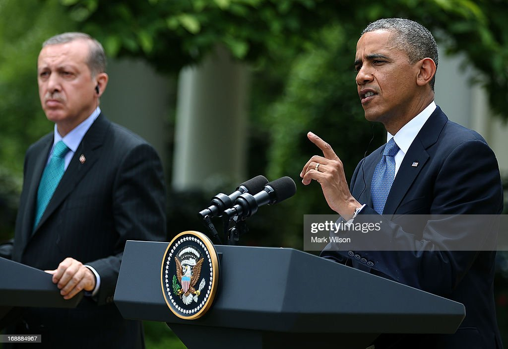 U.S. President <a gi-track='captionPersonalityLinkClicked' href=/galleries/search?phrase=Barack+Obama&family=editorial&specificpeople=203260 ng-click='$event.stopPropagation()'>Barack Obama</a> (R) and Prime Minister <a gi-track='captionPersonalityLinkClicked' href=/galleries/search?phrase=Recep+Tayyip+Erdogan&family=editorial&specificpeople=213890 ng-click='$event.stopPropagation()'>Recep Tayyip Erdogan</a> of Turkey speak to the media at the White House, May 16, 2013 in Washington, DC. President Obama answered questions on the IRS Justice Department invesigation and the two leaders spoke about the situation with Syria.