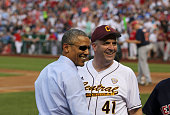 President Barack Obama and Representative Dan Kildee DMich smile during the 2015 Congressional Baseball Game at the National Parks Stadium on June 11...
