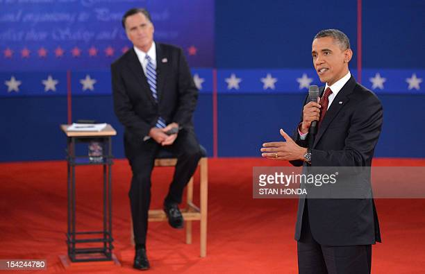 US President Barack Obama and Republican presidential candidate Mitt Romney participate in the second presidential debate the only held in a townhall...