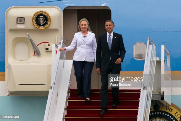 President Barack Obama and Secretary of State Hillary Clinton arrive at Yangon International airport during his historical first visit to the country...