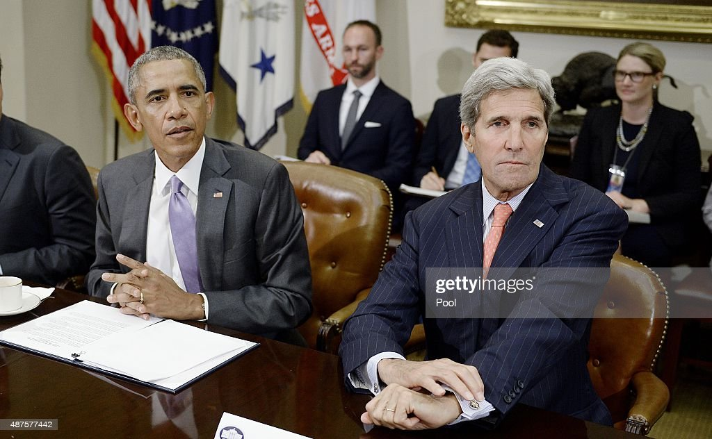 President Barack Obama and Secretary of State John Kerry meet with a small group of veterans and Gold Star Mothers to discuss the Iran nuclear deal...