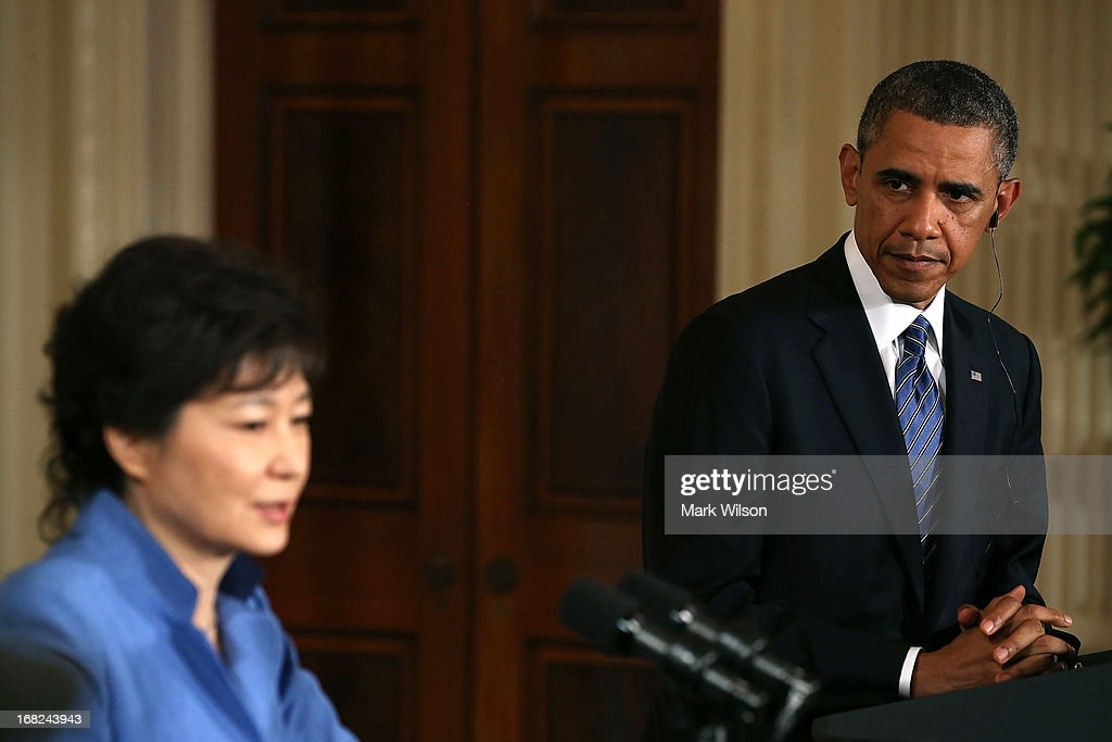 U.S. President <a gi-track='captionPersonalityLinkClicked' href=/galleries/search?phrase=Barack+Obama&family=editorial&specificpeople=203260 ng-click='$event.stopPropagation()'>Barack Obama</a> and South Korea President <a gi-track='captionPersonalityLinkClicked' href=/galleries/search?phrase=Park+Geun-hye&family=editorial&specificpeople=603075 ng-click='$event.stopPropagation()'>Park Geun-hye</a> hold a news conference in the East Room at the White House, May 7, 2013 in Washington, DC. The two leaders talked about the 60th anniversary of the U.S. and South Korean alliance and answered questions on growing tensions with North Korea.