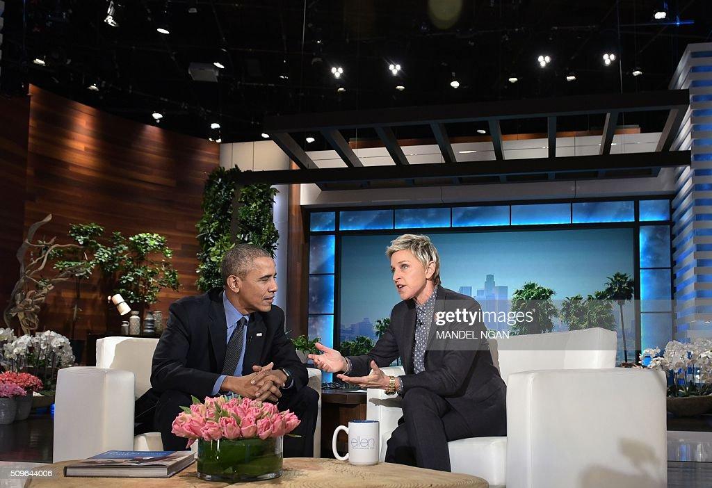 US President Barack Obama and talk show host Ellen DeGeneres are seen during a break in the taping of The Ellen DeGeneres show at Warner Brothers Studios in Burbank, California on February 11, 2016. / AFP / Mandel Ngan