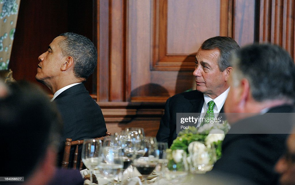 U.S. President Barack Obama (L) and U.S. Speaker of the House John Boehner (R-OH) attend a Friends of Ireland luncheon at the U.S. Capitol March 19, 2013 in Washington, DC. Obama, Boehner and Kenny attended the annual Friends of Ireland luncheon, which usually coincides with St. Patricks's Day, hosted by the House of Representatives at the U.S. Capitol.