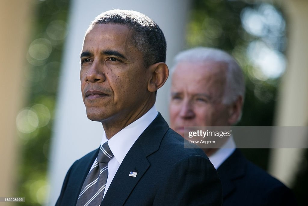 U.S. President <a gi-track='captionPersonalityLinkClicked' href=/galleries/search?phrase=Barack+Obama&family=editorial&specificpeople=203260 ng-click='$event.stopPropagation()'>Barack Obama</a> and U.S. Vice President Joe Biden , are seen during an event to introduce Jeh Johnson as the president's nominee to be the next Secretary of the Department of Homeland Security, in the Rose Garden of the White House, October 18, 2013 in Washington, DC. The Department of Homeland Security has been without a Senate-confirmed leader for six weeks.