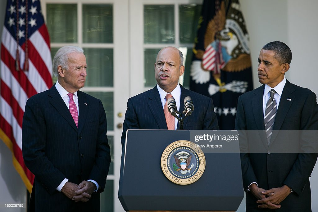 U.S. President <a gi-track='captionPersonalityLinkClicked' href=/galleries/search?phrase=Barack+Obama&family=editorial&specificpeople=203260 ng-click='$event.stopPropagation()'>Barack Obama</a>, (R) and U.S. Vice President Joe Biden, (L) look on as as Jeh Johnson (C) the president's nominee to be the next Secretary of the Department of Homeland Security speaks in the Rose Garden of the White House, October 18, 2013 in Washington, DC. The Department of Homeland Security has been without a Senate-confirmed leader for six weeks.