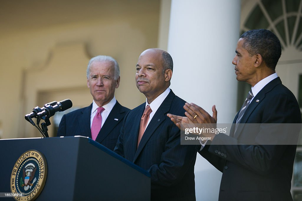 U.S. President <a gi-track='captionPersonalityLinkClicked' href=/galleries/search?phrase=Barack+Obama&family=editorial&specificpeople=203260 ng-click='$event.stopPropagation()'>Barack Obama</a>, (R) and U.S. Vice President Joe Biden, (L) look on as Jeh Johnson (C) the president's nominee to be the next Secretary of the Department of Homeland Security, finishes his remarks in the Rose Garden of the White House, October 18, 2013 in Washington, DC. The Department of Homeland Security has been without a Senate-confirmed leader for six weeks.