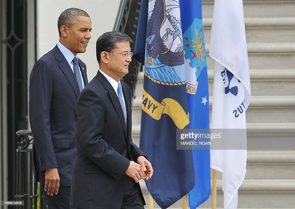US President <a gi-track='captionPersonalityLinkClicked' href=/galleries/search?phrase=Barack+Obama&family=editorial&specificpeople=203260 ng-click='$event.stopPropagation()'>Barack Obama</a> and Veterans Affairs Secretary Eric Shinseki arrive for an event to honor the Wounded Warrior Project's Soldier Ride on April 17, 2013 on South Lawn of the White House in Washington, DC. The Soldier Ride is a four-day cycling event for wounded veterans to overcome physical, mental, or emotional wounds. AFP PHOTO/Mandel NGAN