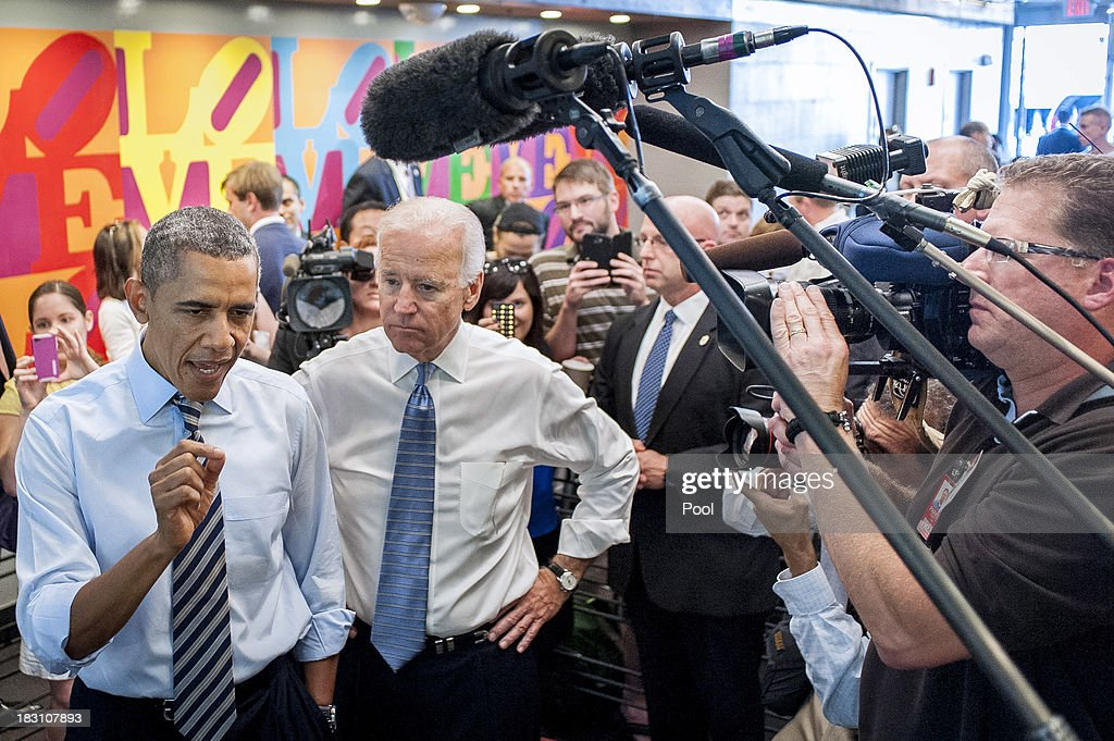 U.S. President <a gi-track='captionPersonalityLinkClicked' href=/galleries/search?phrase=Barack+Obama&family=editorial&specificpeople=203260 ng-click='$event.stopPropagation()'>Barack Obama</a> (L) and Vice President Joe Biden talk to the media at Taylor Gourmet on Pennsylvania Avenue after walking from the White House for a take-out lunch October 4, 2013 in Washington, DC. Democrats and Republicans are still at a stalemate on funding for the federal government as the shutdown goes into the fourth day. The deli, like many other eateries in Washington, is currently offering a discount for furloughed federal workers.