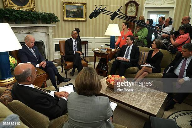President Barack Obama and Vice President Joseph Biden meet with FBI Director James Comey Homeland Security Secretary Jeh Johnson Director of the...