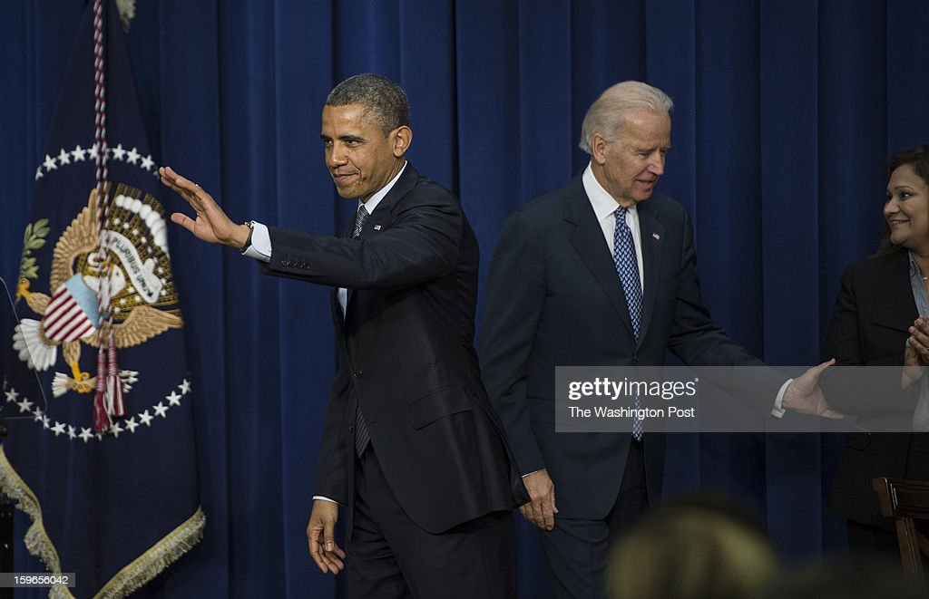 JANUARY 16 -- President Barack Obama and Vice-President Joe Biden hold an event to unveil a package of proposals to unveil a package of proposals to reduce gun violence during an event at the Eisenhower Executive Office Building in Washington, D.C., on Wednesday, January 16, 2013. At right is Nadia Zeejah whose daughter Hinna Zeejah, 8, wrote a letter to the President.