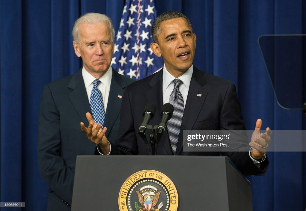 JANUARY 16 -- President Barack Obama and Vice-President Joe Biden hold an event to unveil a package of proposals to unveil a package of proposals to reduce gun violence during an event at the Eisenhower Executive Office Building in Washington, D.C., on Wednesday, January 16, 2013.