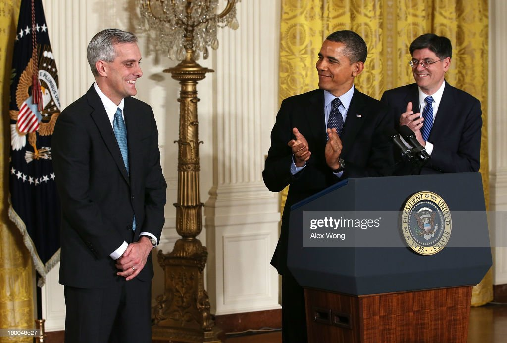 U.S. President <a gi-track='captionPersonalityLinkClicked' href=/galleries/search?phrase=Barack+Obama&family=editorial&specificpeople=203260 ng-click='$event.stopPropagation()'>Barack Obama</a> (C) and White House Chief of Staff <a gi-track='captionPersonalityLinkClicked' href=/galleries/search?phrase=Jack+Lew&family=editorial&specificpeople=2745013 ng-click='$event.stopPropagation()'>Jack Lew</a> (R) applaud as Deputy National Security Adviser Denis McDonough (L) look on during a personnel announcement at the East Room of the White House January 25, 2013 in Washington, DC. President Obama has appointed McDonough to replace Lew to be the new White House chief of staff.