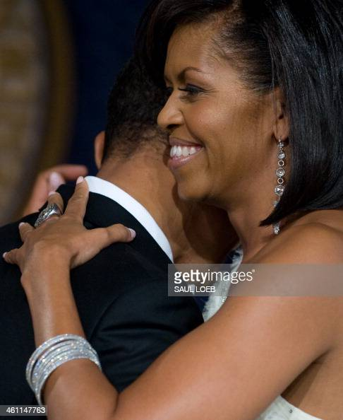 US President Barack Obama and wife Michelle during the Youth Inaugural Ball at the Hilton Washington in Washington DC January 20 2009 Obama was sworn...