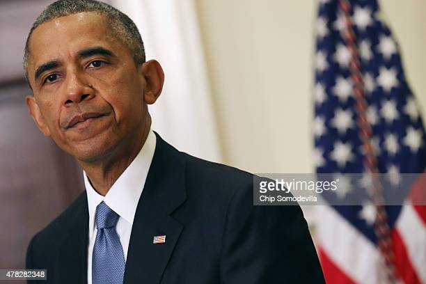 S President Barack Obama announces changes to the government's hostage policy in the Roosevelt Room at the White House June 24 2015 in Washington DC...