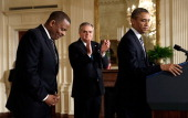 S President Barack Obama announces Charlotte Mayor Anthony Foxx as his nominee for Secretary of Transportation at the White House April 29 2013 in...