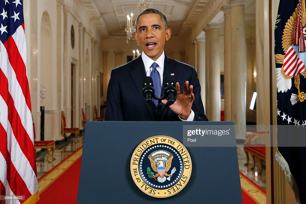 U.S. President <a gi-track='captionPersonalityLinkClicked' href=/galleries/search?phrase=Barack+Obama&family=editorial&specificpeople=203260 ng-click='$event.stopPropagation()'>Barack Obama</a> announces executive actions on U.S. immigration policy during a nationally televised address from the White House, November 20, 2014 in Washington, DC. Obama outlined a plan on Thursday to ease the threat of deportation for about 4.7 million undocumented immigrants.