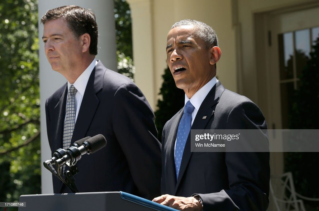 U.S. President Barack Obama (R) announces FBI Director nominee James Comey (L) during a ceremony in the Rose Garden of the White House June 21, 2013 in Washington, DC. Comey is a former Justice Department official in the administration of former U.S. President George W. Bush.