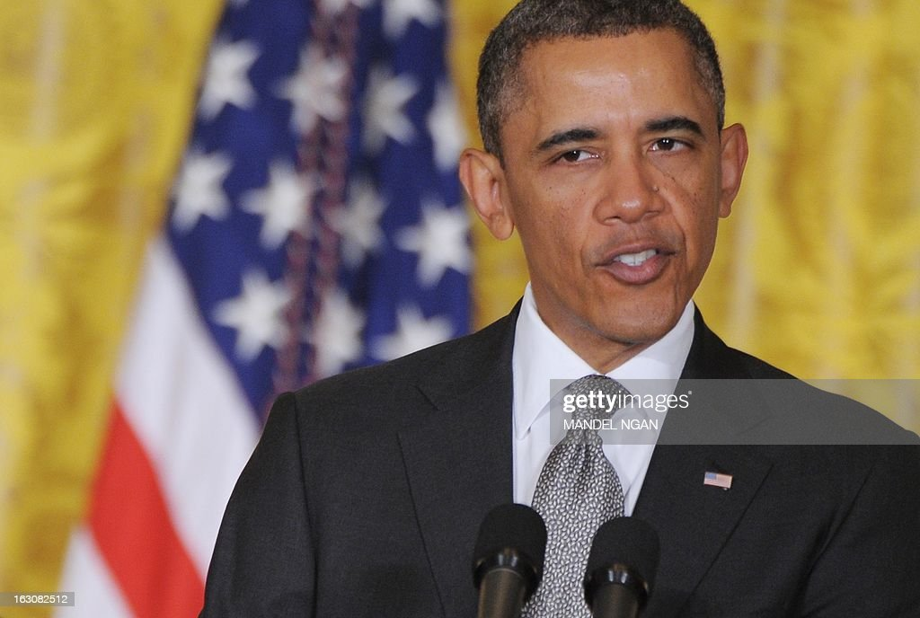 US President <a gi-track='captionPersonalityLinkClicked' href=/galleries/search?phrase=Barack+Obama&family=editorial&specificpeople=203260 ng-click='$event.stopPropagation()'>Barack Obama</a> announces his choice of Massachusetts Institute of Technology(MIT) scientist Ernest Moniz to head the Energy Department, Gina McCarthy to run the Environmental Protection Agency, and Sylvia Mathews Burwell as the next White House budget director on March 4, 2013 in the East Room of the White House in Washington, DC. AFP PHOTO/Mandel NGAN