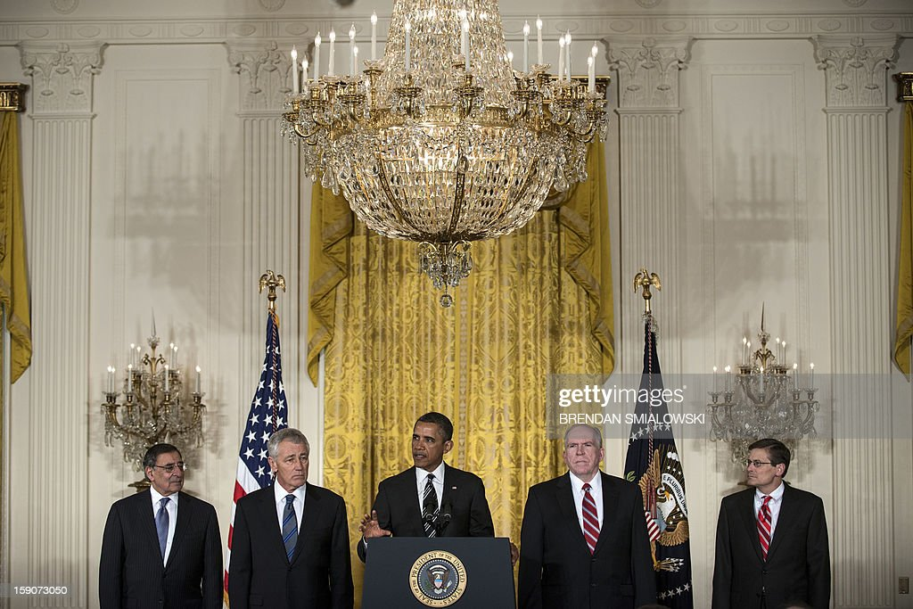 US President Barack Obama (C) announces his nominations for CIA Director and Defense Secretary during an event in the East Room of the White House on January 7, 2013 in Washington. Obama nominated White House counterterrorism adviser John Brennan (2nd R) as CIA director to replace David Petraeus and former Republican senator Chuck Hagel (2nd L) as defense secretary to succeed Leon Panetta (L). The acting director of the CIA Michael Morell is seen at right. AFP PHOTO/Brendan SMIALOWSKI