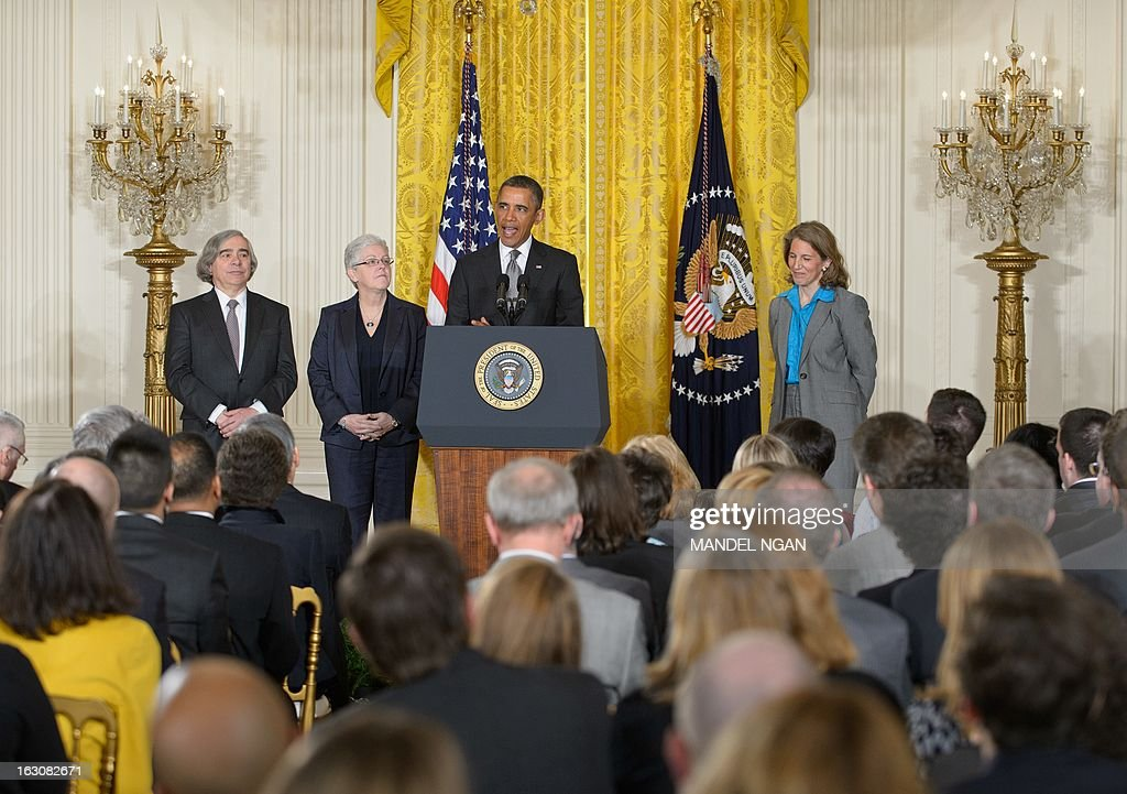 US President <a gi-track='captionPersonalityLinkClicked' href=/galleries/search?phrase=Barack+Obama&family=editorial&specificpeople=203260 ng-click='$event.stopPropagation()'>Barack Obama</a> announces his Nominees from left: MIT scientist Ernest Moniz to head the Energy Department, Gina McCarthy to run the Environmental Protection Agency, and Sylvia Mathews Burwell as the next White House budget director on March 4, 2013 in the East Room of the White House in Washington, DC. AFP PHOTO/Mandel NGAN