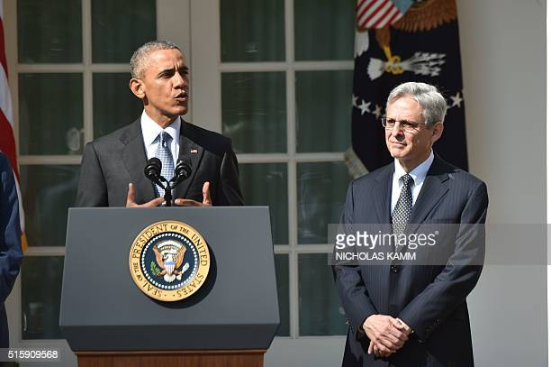 US President Barack Obama announces his Supreme Court nominee Merrick Garland in the Rose Garden at the White House in Washington DC on March 16 2016...