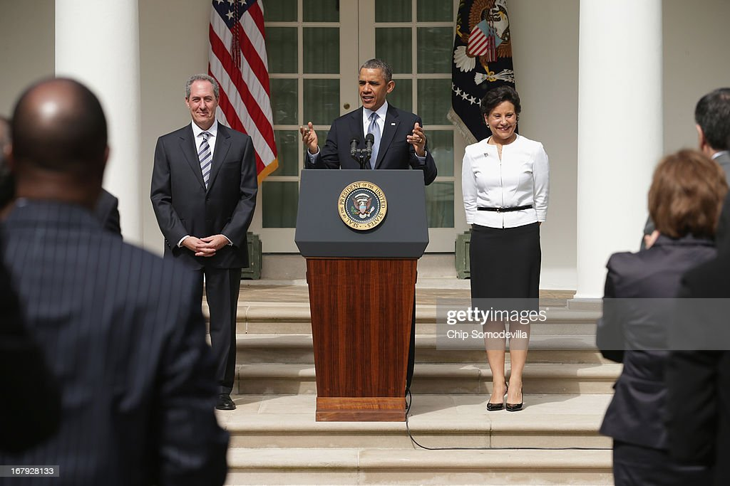 U.S. President <a gi-track='captionPersonalityLinkClicked' href=/galleries/search?phrase=Barack+Obama&family=editorial&specificpeople=203260 ng-click='$event.stopPropagation()'>Barack Obama</a> announces that he will nominate Chicago business executive Penny Pritzker (R) for Commerce Secretary and economic adviser Mike Froman for trade representative in the Rose Garden at the White House May 2, 2013 in Washington, DC. If approved by the Senate, the two appointments will round out the administration's economic team for Obama's second term.
