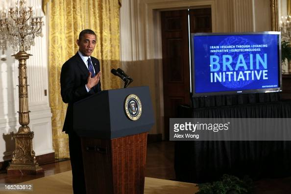 S President Barack Obama announces the administration's BRAIN Initiative during an East Room event at the White House April 2 2013 in Washington DC...