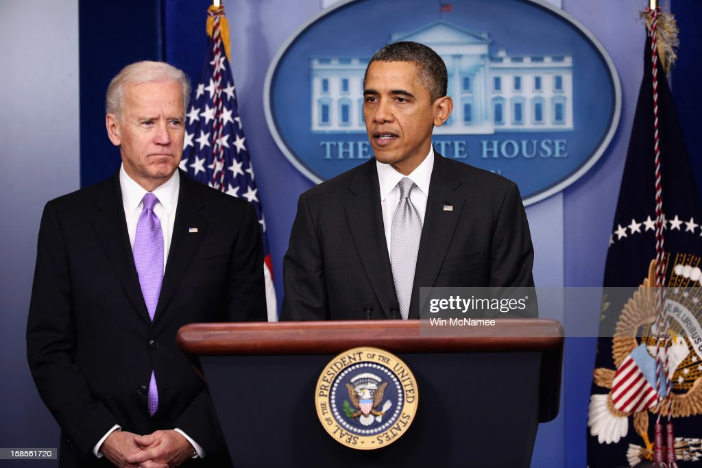 U.S. President <a gi-track='captionPersonalityLinkClicked' href=/galleries/search?phrase=Barack+Obama&family=editorial&specificpeople=203260 ng-click='$event.stopPropagation()'>Barack Obama</a> (R) announces the creation of an interagency task force for guns as as Vice President <a gi-track='captionPersonalityLinkClicked' href=/galleries/search?phrase=Joseph+Biden&family=editorial&specificpeople=206897 ng-click='$event.stopPropagation()'>Joseph Biden</a> listens in the Brady Press Briefing Room at the White House on December 19, 2012 in Washington, DC. President Obama announced that he is making an administration-wide effort to solve gun violence and has tapped Vice President Joe Biden to lead an interagency task force in the wake of the Sandy Hook Elementary School shooting in Newtown, Connecticut.