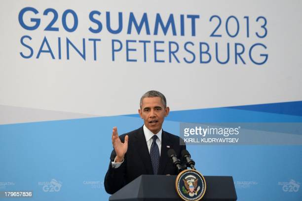 US President Barack Obama answers a question during a press conference in Saint Petersburg on September 6 2013 on the sideline of the G20 summit...
