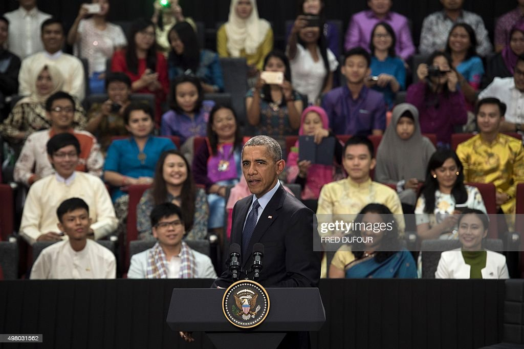 US President Barack Obama answers a question during a town hall with Young Southeast Asia Leaders Initiative at Taylor's University in Kuala Lumpur...