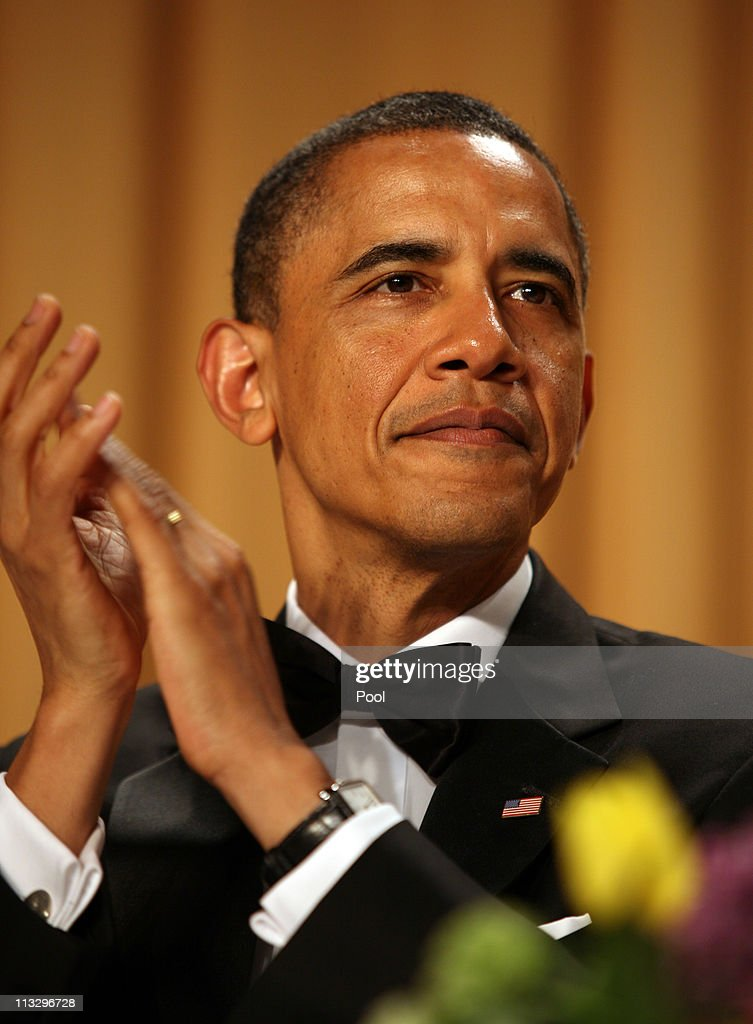US President <a gi-track='captionPersonalityLinkClicked' href=/galleries/search?phrase=Barack+Obama&family=editorial&specificpeople=203260 ng-click='$event.stopPropagation()'>Barack Obama</a> applauds during the annual White House Correspondent's Association Gala at the Washington Hilton hotel April 30, 2011 in Washington, DC.