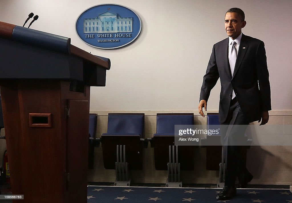 U.S. President <a gi-track='captionPersonalityLinkClicked' href=/galleries/search?phrase=Barack+Obama&family=editorial&specificpeople=203260 ng-click='$event.stopPropagation()'>Barack Obama</a> arrives at an announcement on gun reform in the Brady Press Briefing Room of the White House December 19, 2012 in Washington, DC. President Obama announced that he is making an administration-wide effort to solve gun violence and has tapped Vice President Joseph Biden to lead the effort in the wake of the Sandy Hook Elementary School shooting in Newtown, Connecticut.