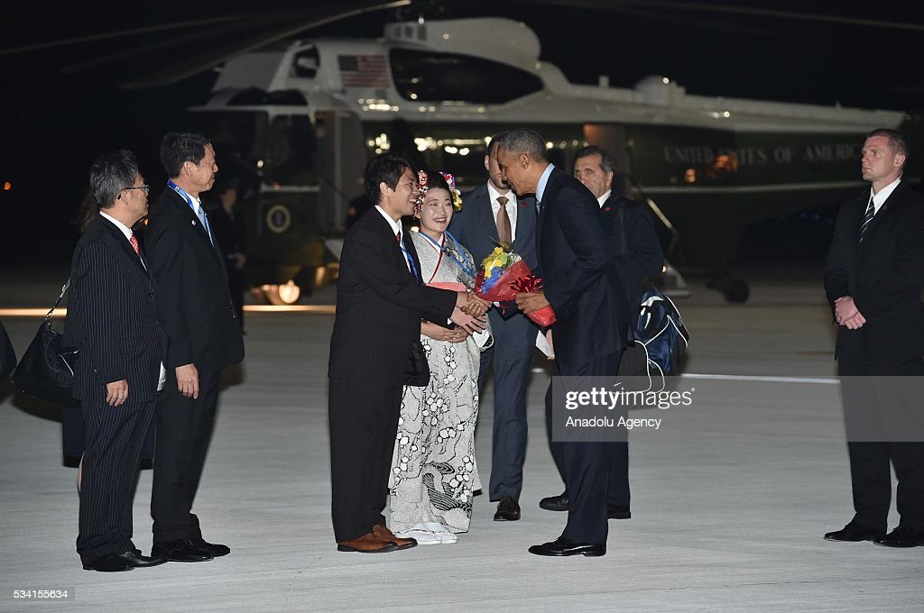 US President Barack Obama arrives at Chubu Centrair International Airport in Tokoname, Aichi Prefecture, central Japan, 25 May 2016.